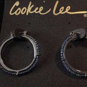 Hoop earrings with blue beading - BNWT